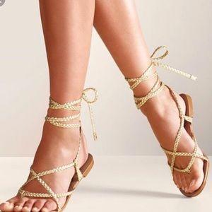 NWOT Gold Lace Up Sandals